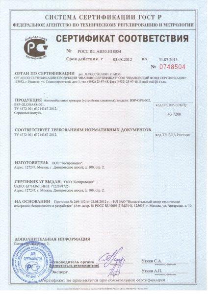 BSP-GLONASS-001_сертификат